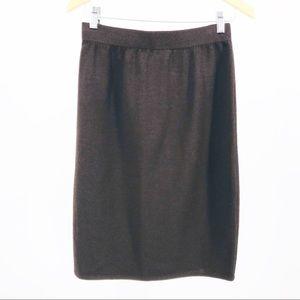 St John Collection Santana Knit Skirt Brown PullOn
